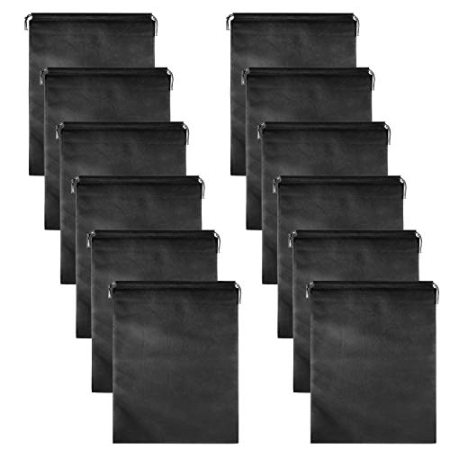 12 PCS Travel Shoe Bags, Non-Woven With Rope For Men and Women Travel Packing Shoe Organizers, X-Large, Black (12 PCS)