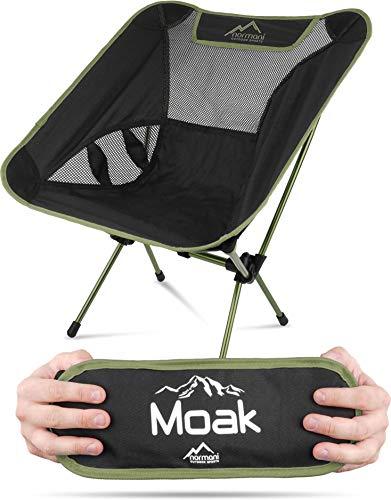 normani Ultraleichter Mini Campingstuhl MOAK 796 g! klappbarer Strandstuhl Anglerstuhl mit Aluminiumgestell - Stabiler Outdoorstuhl - Traglast: 135 Kg (330 lbs) Farbe Olive