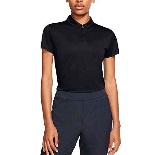 Nike Damen Dri-Fit Poloshirt, Black/Flat Silver, M