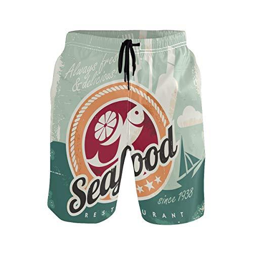 BONIPE - Bañador para hombre, diseño retro de mariscos y ollas de pescado de secado rápido, con cordón y bolsillos Multicolor multicolor S