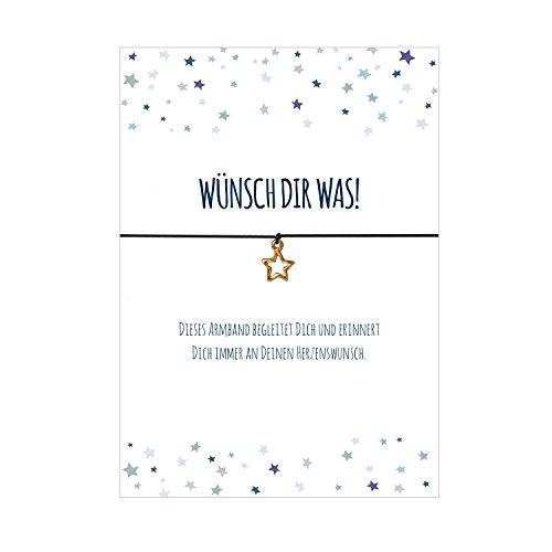 Glücksschmiedin Armband WÜNSCH DIR was mit Stern Anhänger vergoldet, elastischem Textilband in schwarz und liebevoller Karte: … an Deinen Herzenswunsch