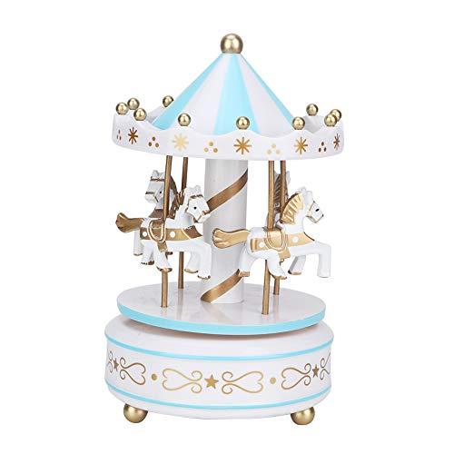 Yuehao Caballo de carrusel de Madera Vintage, Caja de música clásica de carrusel de 3 Caballos, decoración de Regalo de cumpleaños de Navidad, para cafetería, librería, etc. (4 Colores)(Azul)
