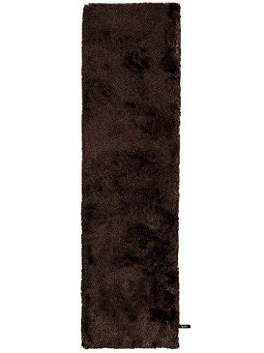 benuta Shaggy hoogpolig tapijt Whisper Rond 80x300 cm donkerbruin