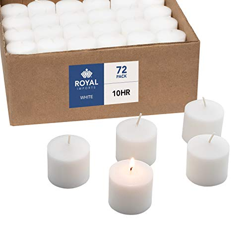 Votive Candle, Unscented White Wax, Box of 72, for Wedding, Birthday, Holiday & Home Decoration (10 Hour) by Royal Imports