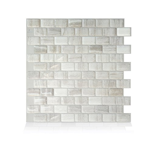 Smart Tiles Self Adhesive Wall Tiles - Ravenna Farro - 4 Sheets of 9.80' x 9.74' (24.89 cm x 24.74 cm) Kitchen and Bathroom Stick on Tiles - 3D Peel and Stick Backsplash