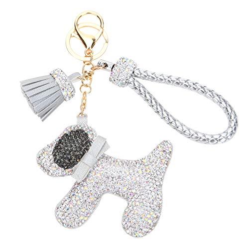 Fawziya Dog Keychain With Tassle Rhinestone Keychains- Silver