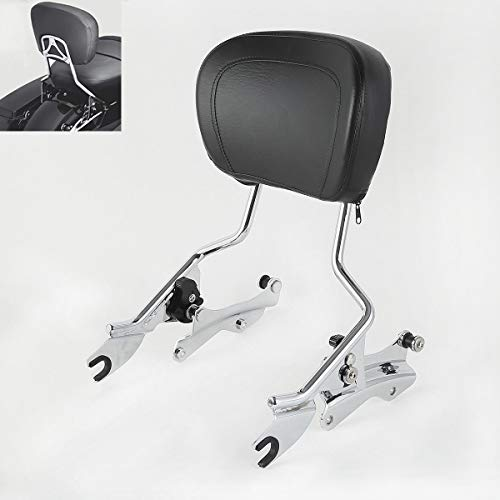 TCMT Detachable Passenger Backrest Sissy Bar With 4 Point Docking Hardware Kits Fits For Harley Street Glide 2014-2020 (Chrome, Style A)
