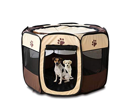 N/JXAPD opvouwbare achthoekige huisdier hek Oxford doek waterdichte krasbestendige hond kat tent verwijderbaar en wasbaar, M 90 × 90 × 60cm, BRON