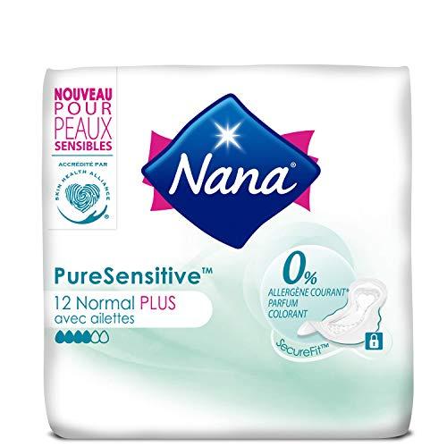 NANA PureSensitive Ultra Normal Plus Serviettes Hygiénique avec Ailettes - Lot de 4