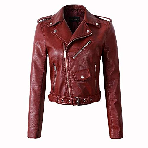 Mujer Rojo Vino Chaquetas De Cuero Sintético Señora Chaqueta Bomber Motocicleta Rosa Negro Ropa de abrigo
