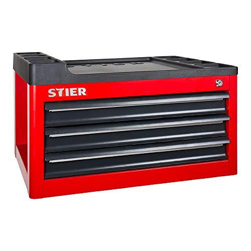 STIER Werkstattwagenaufsatz leer, 3 Schubladen, einfache Montage, Aufsatz passend für STIER Werkstattwagen, Werkzeugwagen