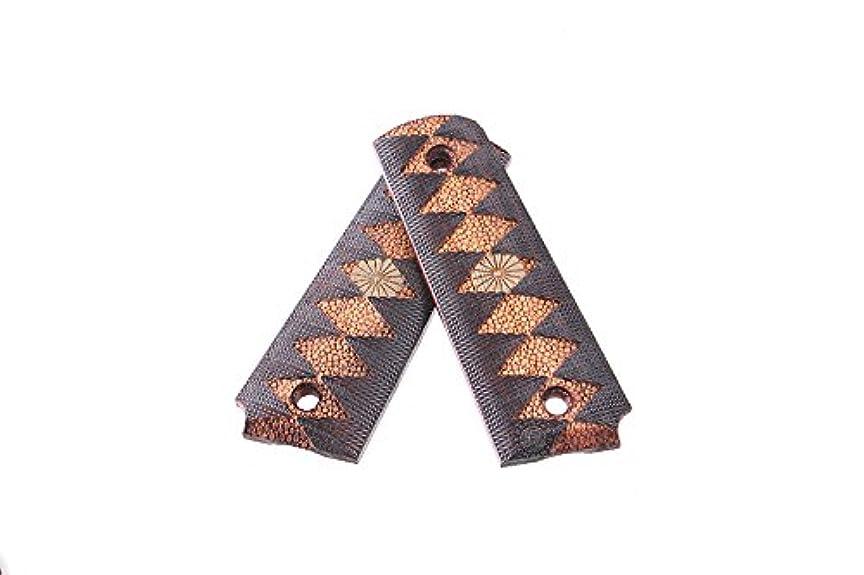 登録する聖人ブルジョン東京マルイ M1911A1 MEU 対応 ウッド グリップ パネル 日本タイプ 日本刀 柄糸