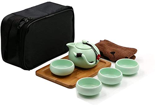 Facaing Ceramic Kungfu Tea Set,Portable Travel Tea Set with Teapot,Teacups,Tea Canister,Tea Tray and Travel Bag,Suitable for Travel, Home,Outdoor and Office Green