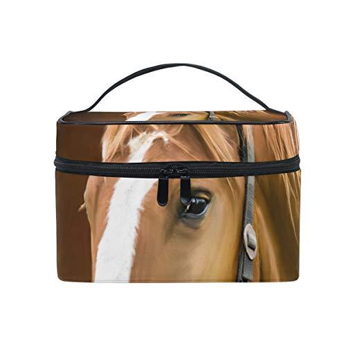 Bolsa de cosméticos de maquillaje portátil cuadrada con cremallera Caballo Animal de una sola capa Bolsa de almacenamiento de viaje de embrague Bolsa para mujeres niñas
