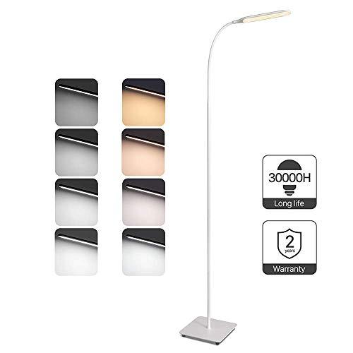TaoTronics Stehlampe LED Dimmbar 10W Stehleuchte für Wohnzimmer Schlafzimmer, hohe 30.000 Stunden Lebensdauer, 4 Farbtemperaturen, 4 Helligkeitsstufen, Flexibler Schwanenhals, Weiß