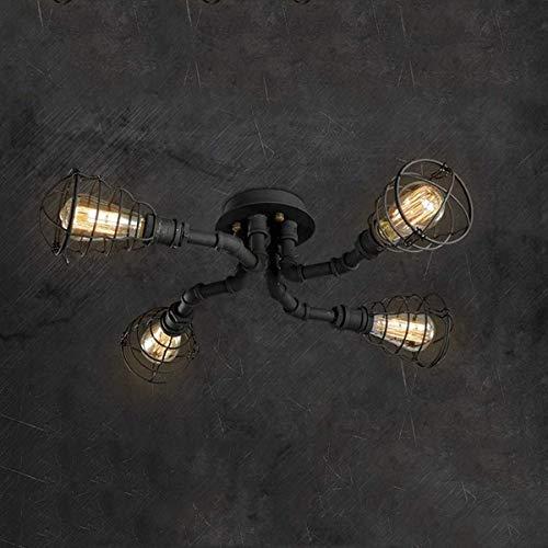 Unbekannt HSB Vintage Flush Mount Deckenlampe Rustic Kupferrohr halb Erröten-Einfassung Licht mit 4 Lampenfassungen lackiert Wasserrohr Beleuchtung