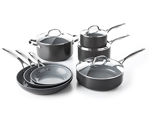 GreenPan CC000675-001 Valencia Pro 100% Toxin-Free Healthy Ceramic Nonstick Metal Utensil Dishwasher/Oven Safe Cookware Set, 11pc, Gray