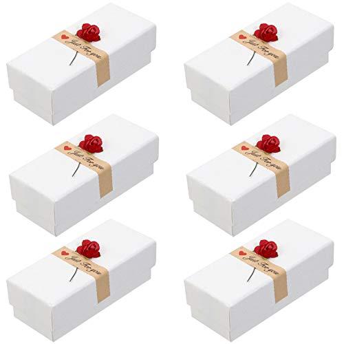 ULTNICE 6 Stück Lippenstift Verpackungsboxen Kreative Rose Blume Geschenkbox Zarte Papier Schmucketui Parfüm Probe Verpackungsbehälter für Valentinstag Hochzeit Weiß 10. 5X4. 5X3. 5Cm