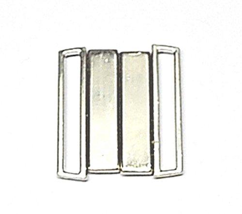 Bikiniverschluss Metall silber 25 mm Stegbreite