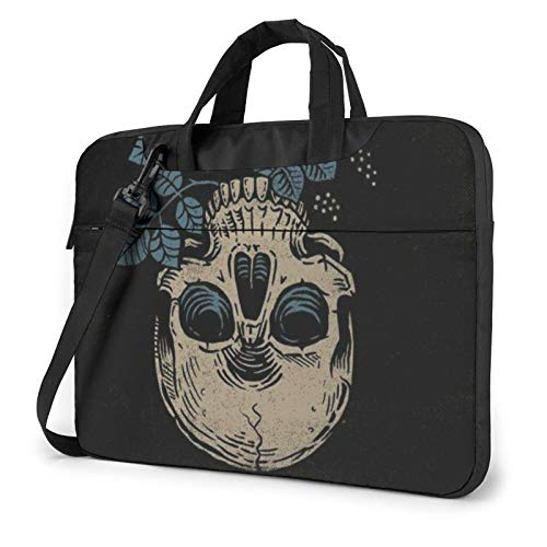 Flowers and Sugar Skull Laptop Bag Briefcase Shoulder Mesenger Bag for Women Men 13 Inch
