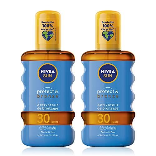NIVEA SUN Spray huile activateur de bronzage Protect & Bronze FPS 30 (2 x 200 ml), huile solaire avec protection solaire UVA/UVB pour un hâle naturellement bronzé