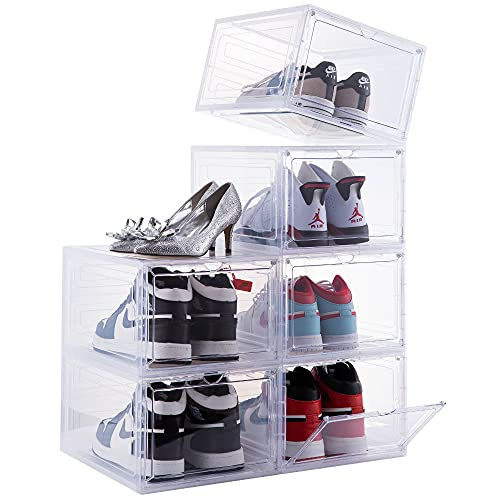 ATTELITE DROP FRONT SHOE BOX 맑은 문을 가진 6 쌓을 수있는 플라스틱 신발 상자 신발 보관함 상자 디스플레이 스니커즈 쉬운 조립 우리 사이즈 12 (13.4 X 10.6X 7.4 )