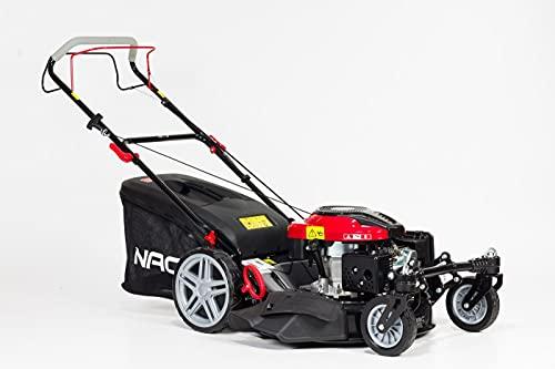 Cortacésped de gasolina fuerte NAC con cesta de 75 L, ancho de corte de 56 cm, 6 niveles de ajuste de altura de corte de 25 a 75 mm, peso 40,1 kg, 4 tiempos, 196 cm3, función de mulching