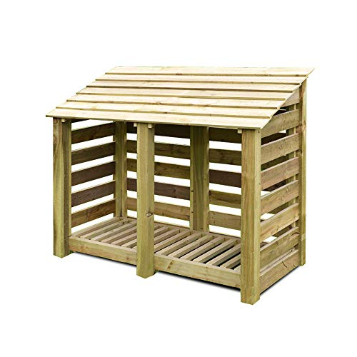 Rutland County Garden Furniture Cottesmore 4ft Tall Log Store/Garden Storage Heavy Duty Pressure Treated Timber With Forward Sloping Roof