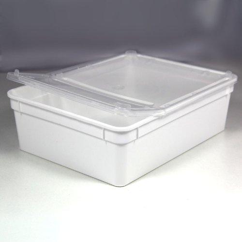 BraPlast Dose 3,0 Liter 24,5 x 18,5 x 7,5 cm - weiß mit transparentem Deckel/Kunststoff Stapelbox