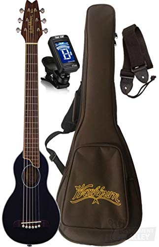 Washburn RO10SBK-A Rover Spruce Top Acoustic Travel Guitar with Bag (Black)