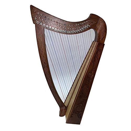 IRISCH KELTISCHE HARFE 22 SAITEN mit Halbtonklappen HARPE ARPE HARP Lyra-Lyre Aрфа