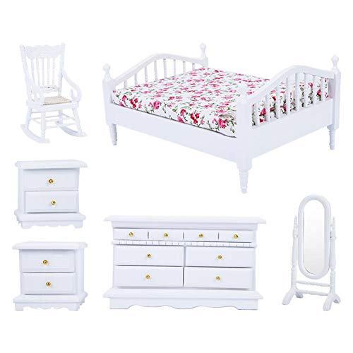 Jadpes Children's Mini Doll House Accessories, 1:12 6pcs Mini Wooden White Bedroom Furniture Set for Dollhouse Best for 6, 7, 8 Year Olds and Up