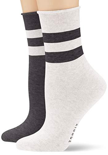 ESPRIT Damen Socken Sporty Melange Stripe 2er Pack - Baumwollmischung, 2 Paare, Schwarz (Sortiment 50), Größe: 39-42
