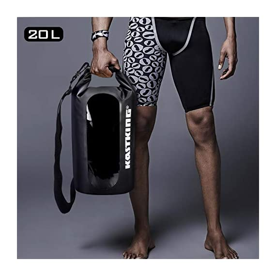 KastKing Dry Bags, 100% Waterproof Storage Bags, Military Grade Construction for Swimming, Kayaking, Boating, Hiking… 5 Innovative Transparent Window Design: You will love the clear see-through window panel that allows you to see what gear is inside your dry bag without unpacking. Double Layer Gives Extra Security: Tough, durable 100% waterproof 500D PVC material, fusion welded seams, removable adjustable shoulder carry strap make it a great compression dry sack. Unique water-tight DOUBLE overlap roll top provides the best-in-class waterproof performance. Use a versatile KastKing Dry Bag for Kayaking, Beach, Rafting, Boating, Hiking, Camping and Fishing. Never worry about dropping it in water or water getting in. Unique water-tight DOUBLE overlap roll top provides the best-in-class waterproof performance. Use a versatile KastKing Dry Bag for camera, or can double as a fishing tackle bag or travel bag.