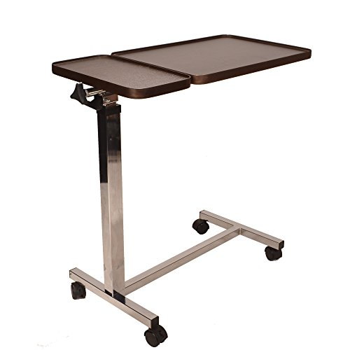 Deluxe twin top over bed table adjustable height and angle, raises with just 1 finger ECOBT2