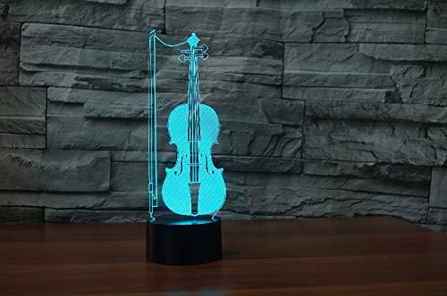 3D illusie nachtlampje LED viool licht voor kinderen kinderen decoratie verjaardag cadeau 7 kleurwisseling met afstandsbediening USB powered home slaapkamer decoratie