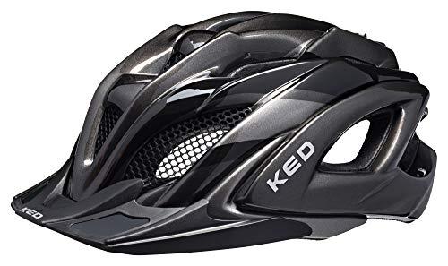 KED Neo Visor XL Black Anthracite - Casco para bicicleta (59-64 cm, incluye banda de seguridad RennMaxe, para adultos), color negro