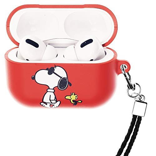 Peanuts Snoopy ピーナッツ スヌーピー AirPods Pro と互換性があります ケース ネックストラッ エアーポッズ プロ 用 ケース 硬い スリム ハード カバー (一緒 スヌーピー ウッドストック) [並行輸入品]