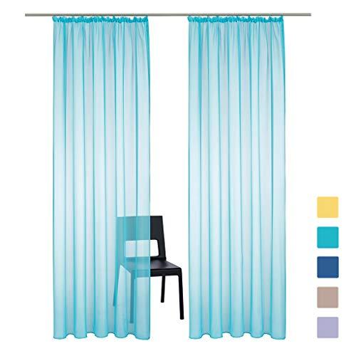 SIMPVALE 2 Paneles Cortinas Visillos Transparentes Clásicas de Color Sólido Cortina de Gasa con Ganchos Riel para Dormitorio, Habitación, Sala de Estar, Balcón, 140x175cm, Cielo Azul