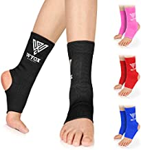 WYOX Ankle Wraps Support Boxing Gear for Men Women Muay Thai Ankle Support Kickboxing Wraps Gym Ankle Support (Pair) (Black, S/M (Women 4.0-6.5/ Men 3.0-5.5))