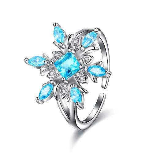 EVER FAITH Anello Donna Accessorio invernale Fiocchi di neve scintillanti Anello regolabile con Zircone lampeggiante e 925 Argento Cuff Ring Cielo blu