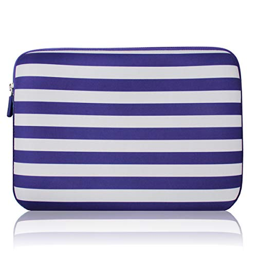 AULEEP Laptop Sleeves, Neoprene Notebook Computer Pocket Tablet Carrying sleeve/Water-Resistant compatible laptop sleeve for Acer/Asus/Dell/Lenovo/HP (13-14 inch, navy blue stripes)