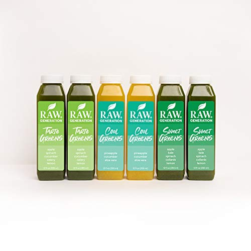 Raw Generation® Low Sugar Green Juice Variety - 60% Less Sugar Than Average Juices/Crafted from Leafy Greens/Antioxidants for Immunity, Nutrients for Energy (18 Count)