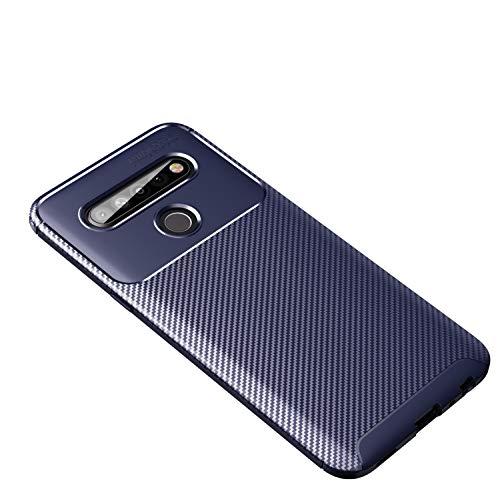 Botongda LG K61 Hülle,Schlankes & weiches stoßfestes Gehäuse Hergestellt aus Silikon & TPU,Mattes rutschfestes Kohlefaser-Schutzetui für LG K61 (Blau)