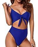 Tempt Me Royal Blue Cutout One Piece Swimsuit for Women High Cut V Neck Tie Knot Front Backless Bathing Suit L