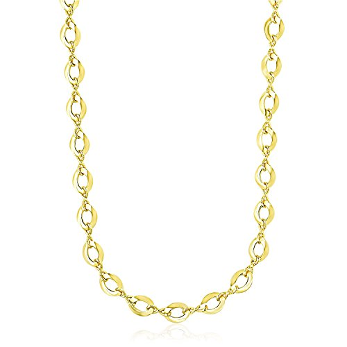 Diamond2Deal 14ct Yellow Gold Textured Infinity and Marquis Motif Necklace for Women