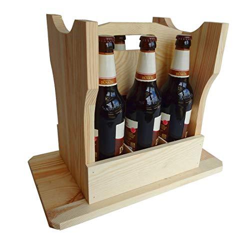 eCom Fabarius Bierhocker aus Holz für 6 Flaschen, Bierträger und Hocker in einem, Männerhandtasche, Flaschenträger, Biersitz