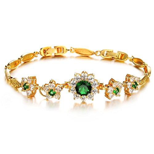 Women Bracelets, Kredy 18K Gold Elegant Double Heart Link Bangles Bracelets for Women Girls (Flower Style)