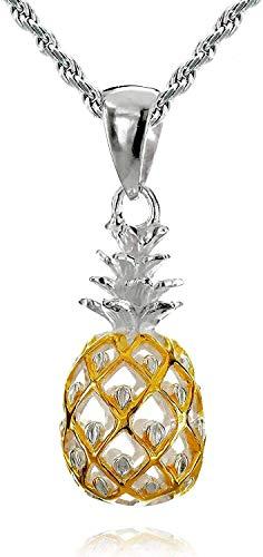レイラニ ハワイアンジュエリー パイナップル ペンダント ネックレス シルバー 925(2トーンイエローゴールドコーティング) (ロープチェーン40cm付)