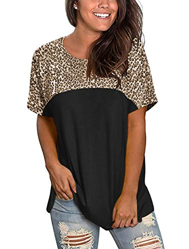 Floral Find Women's Round Neck Short Sleeve Taupe Leopard Print Tops Summer Casual Tee T-Shirt